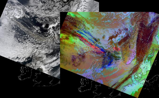 Вулкан Эйяфьятлайокудль снимок из космоса