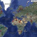 Места падения метеоритов на карте